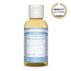 Dr. Bronner's, Orgaaniline lõhnatu vedelseep beebidele, 60ml