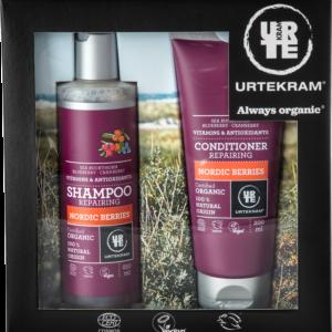 Urtekram, Kinkekomplekt Nordic Berries, šampoon 250ml + palsam 200ml